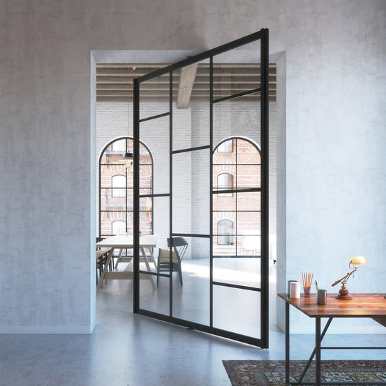 Portapivot 6530 XL | black anodized by PortaPivot | Glass partitions