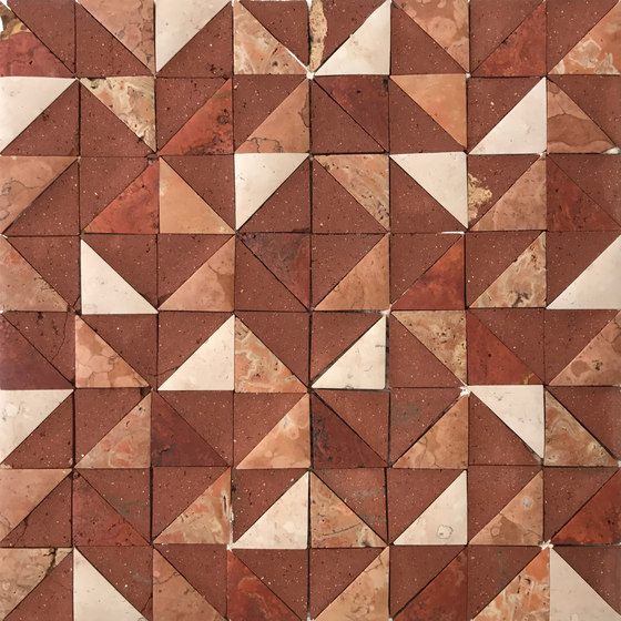 Rurale | Marble and Porcelain Mosaic in Red de Tango Tile | Mosaïques en pierre naturelle