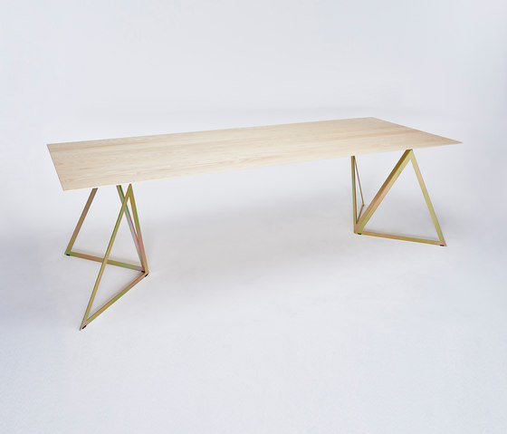 Steel Stand Table - gold galvanized/ ash white by NEO/CRAFT | Dining tables