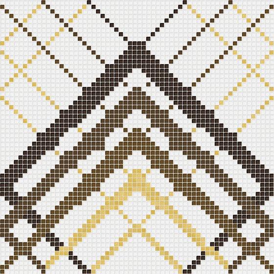 Decor Geometric | Overlap White Gold 10x10 by Mosaico+ | Glass mosaics