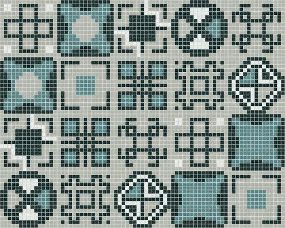 Decor Geometric | Squares Blue 20x20 de Mosaico+ | Mosaicos de vidrio