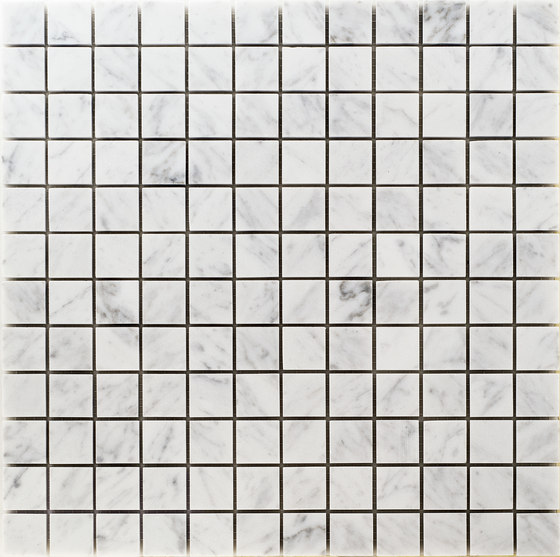 Pietre | Bianco Carrara 23x23 di Mosaico+ | Mosaici pietra naturale