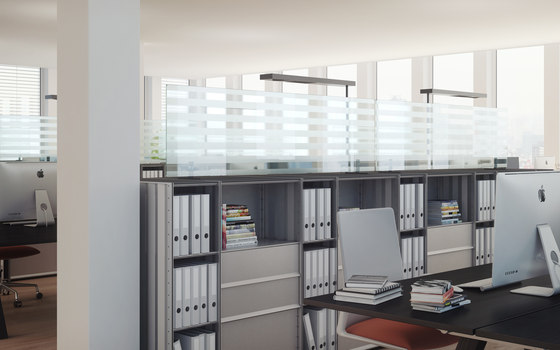 acoustic glass panels by adeco   Space dividing systems