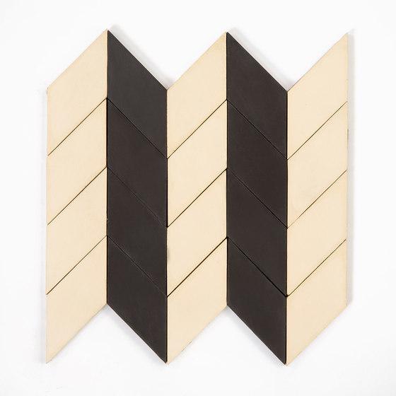 Short-Chevron-Parade-black-cream di Granada Tile   Piastrelle cemento