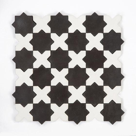 Star & Cross-BlackWhite de Granada Tile | Baldosas de hormigón