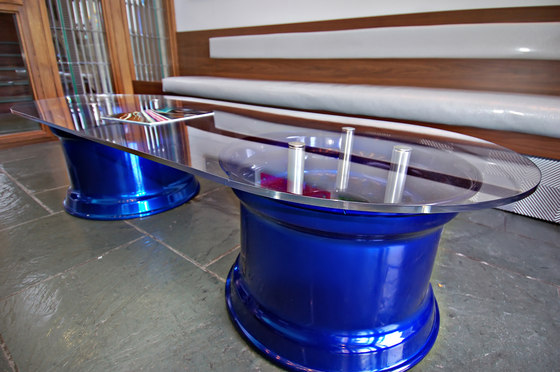 StandOff Barrels - Raised Glass Coffee Table by Gyford StandOff Systems® | Furniture fittings