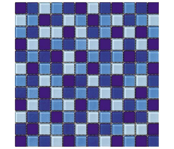 Dekostock Mosaics | Malla Cristal Azul Brillo de Dune Cerámica | Mosaïques verre