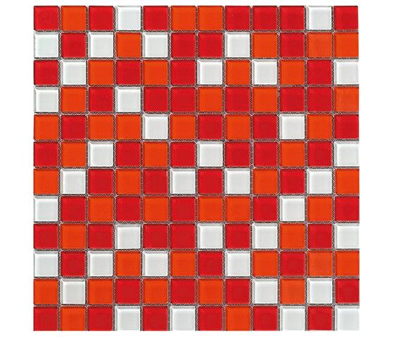 Dekostock Mosaics | Malla Cristal Rojo Brillo de Dune Cerámica | Mosaïques verre