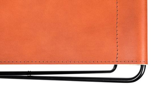 Fußteil Klappbar Blankleder Cognac di Manufakturplus | Tavolini alti