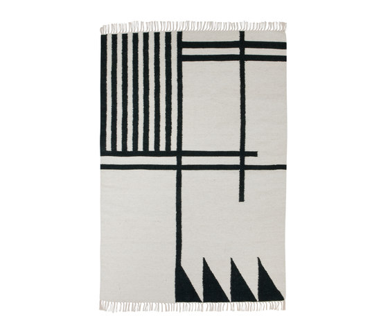 Kelim Rug Large - Black Lines by ferm LIVING | Rugs