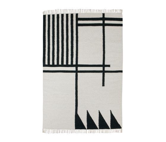 Kelim Rug Large - Black Lines von ferm LIVING | Formatteppiche