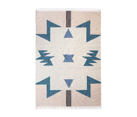 Kelim Rug Large - Blue Triangles von ferm LIVING   Formatteppiche