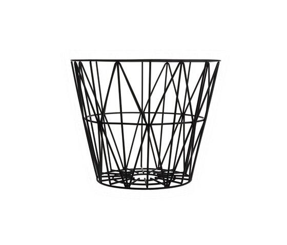 Wire Basket Medium - Black von ferm LIVING | Abfallbehälter / Papierkörbe