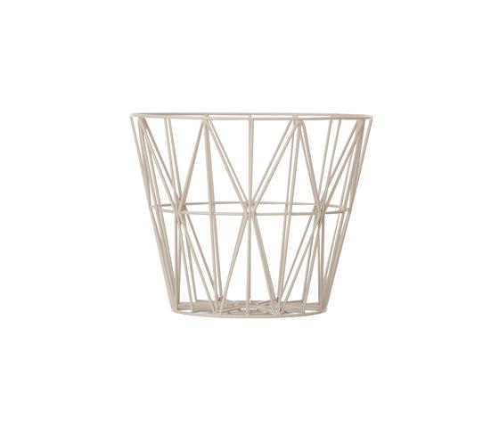 Wire Basket Small - Light Grey de ferm LIVING   Poubelle / Corbeille à papier