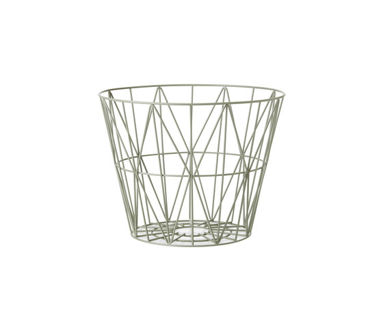 wire basket small dusty green waste baskets from ferm. Black Bedroom Furniture Sets. Home Design Ideas