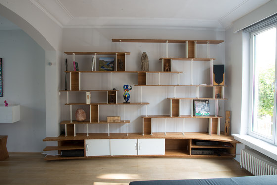 Curve Wood and Steel | Bookshelf by Jo-a | Shelving