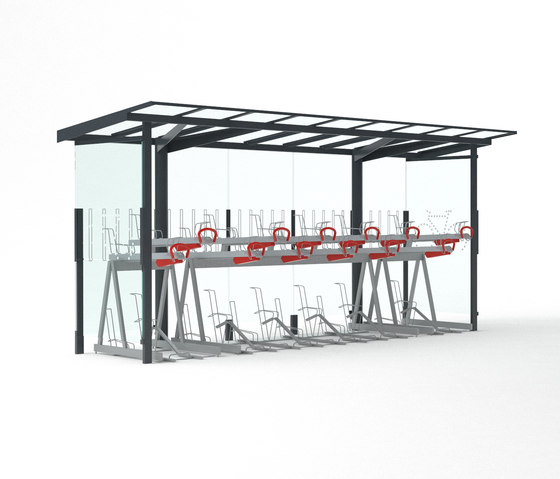 regio velo | Two-tier bicycle shelter by mmcité | Bicycle shelters