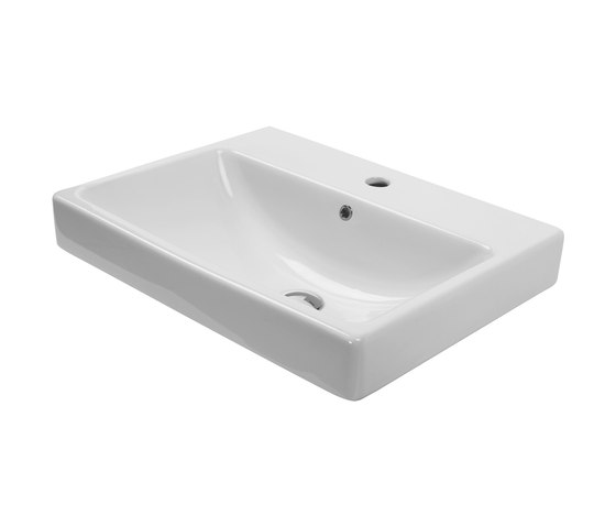 Corsair | Semi-Inset Wash Basin 1 Tap Hole With Overflow by BAGNODESIGN | Wash basins