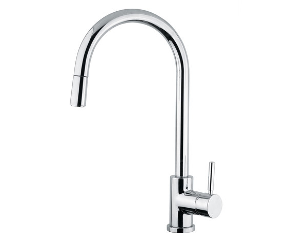 M Line | Kitchen Sink Mixer With Pull Out Shower by BAGNODESIGN | Kitchen taps