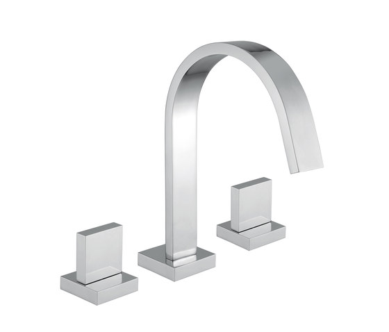 Mezzanine | 3 Hole Smooth Bodied Basin Mixer by BAGNODESIGN | Wash basin taps