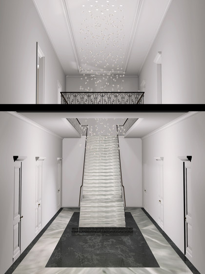 Flower Bespoke Staircase by Windfall | Chandeliers