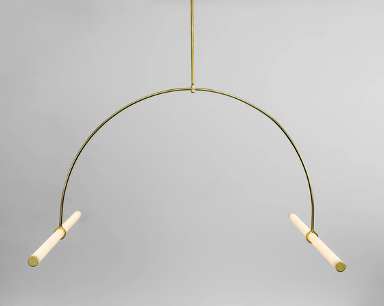 Tube pendant No. 1 - LED light, ceiling, natural brass finish by Naama Hofman Light Objects   Suspended lights