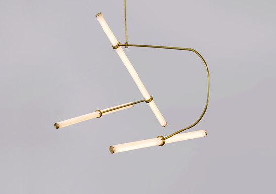 Tube pendant No. 2 - LED light, ceiling, natural brass finish de Naama Hofman Light Objects | Suspensions