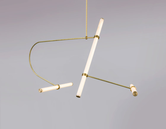 Tube pendant No. 2 - LED light, ceiling, natural brass finish by Naama Hofman Light Objects | Suspended lights