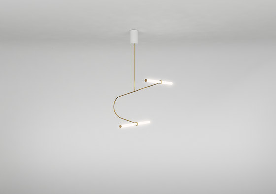 Tube pendant No. 3 - LED light, ceiling, natural brass finish by Naama Hofman Light Objects | Suspended lights