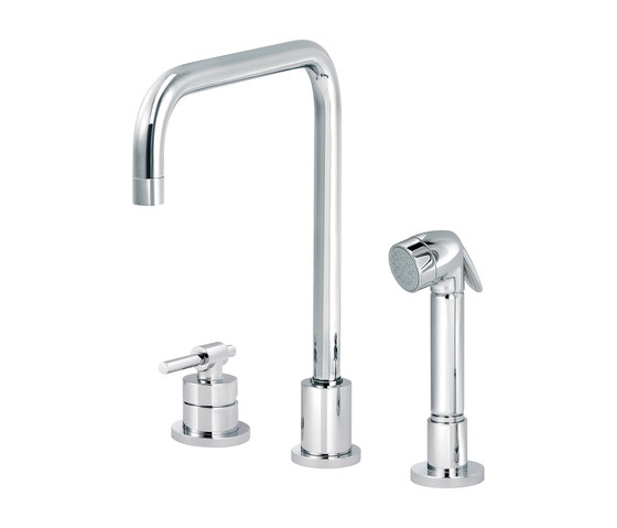 Dynamic | Single-lever kitchen mixer, great U spout, handshower by rvb | Kitchen taps