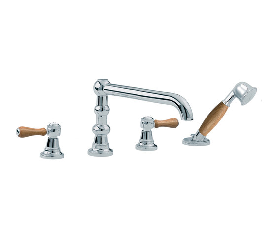 1935 Wood | 4-hole bath and shower set, handshower by rvb | Bath taps