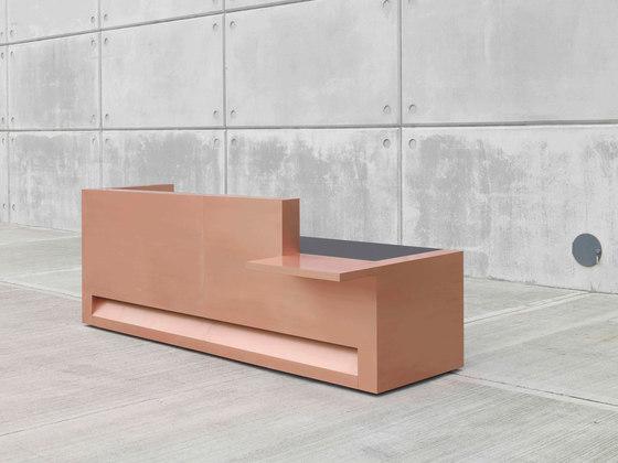 Blok Reception Desk in Copper Configuration 1 de Isomi | Banques d'accueil