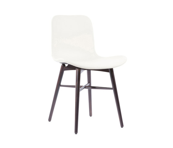 Langue Original Dining Chair, Dark Stained - Leather: Premium Leather Eggshell 41581 de NORR11 | Sillas