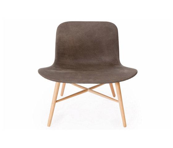 Langue Original Lounge Chair, Natural / Tempur Leather Carbon Brown 4004 de NORR11   Sillones
