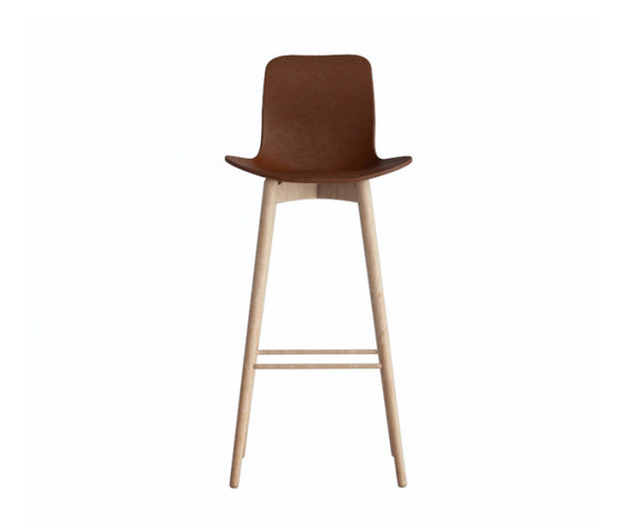 Langue Bar Chair, Natural / Premium Leather Brandy 41574 by NORR11 | Bar stools