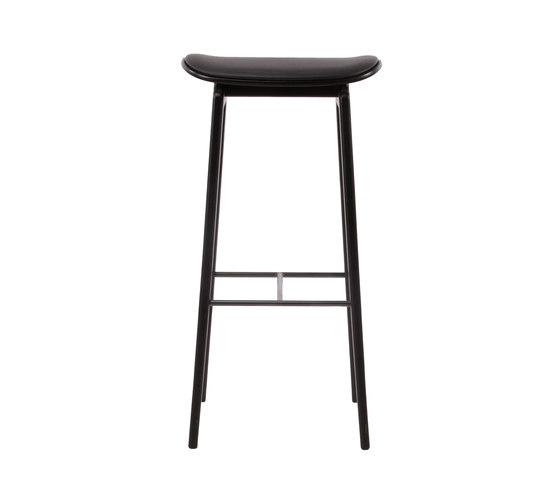 NY11 Bar Chair, Black - Premium Leather Black, High 75 cm by NORR11 | Bar stools