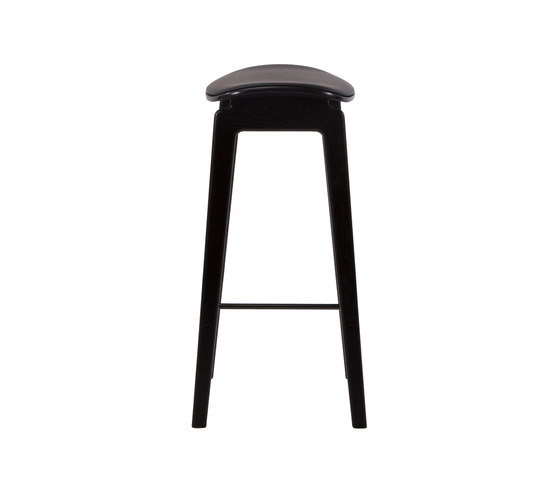 NY11 Bar Chair, Black - Premium Leather Black, Low 65 cm von NORR11 | Barhocker