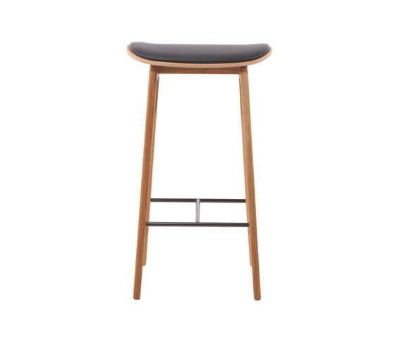 NY11 Bar Chair, Natural - Premium Leather Black, Low 65 cm by NORR11 | Bar stools