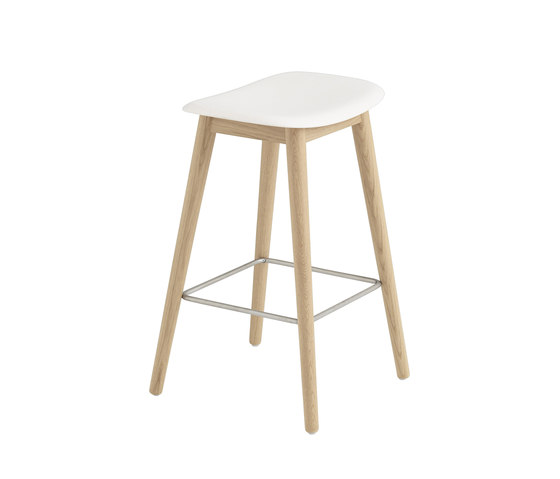 Fiber Counter Stool | Wood Base by Muuto | Bar stools