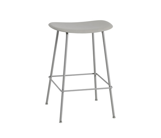 Fiber Bar Stool | tube base  - grey by Muuto | Bar stools
