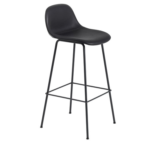 Fiber Bar Stool | tube base  - black leather de Muuto | Tabourets de bar