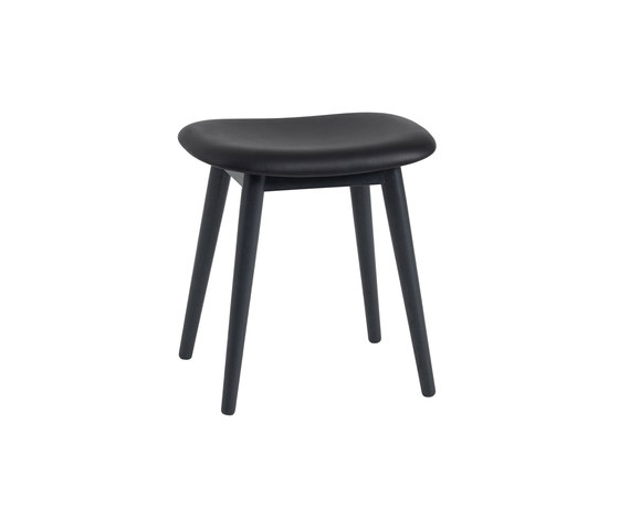 Fiber Stool | wood base  - black leather by Muuto | Ottomans