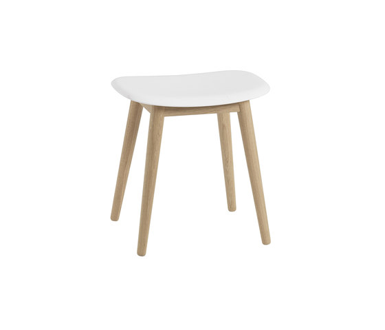Fiber Stool | wood base  - white by Muuto | Poufs