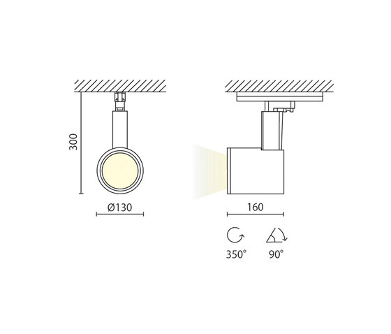 Zeta 130 di Aqlus | Lampade plafoniere