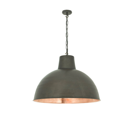 7163 Spun Reflector, Large, Weathered/Polished Copper Interior by Original BTC | Suspended lights