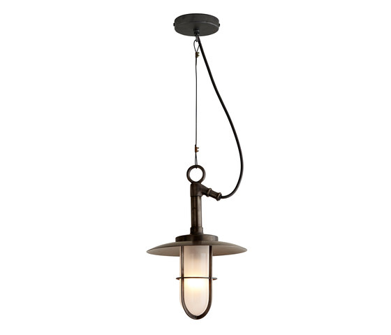 7523 Ship's Well Glass Pendant With Visor, Frosted Glass, Weathered Brass di Original BTC | Lampade sospensione