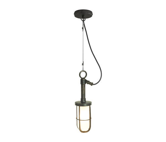 7524 Ship's Well Glass Pendant, Frosted Glass, Weathered Brass di Original BTC | Lampade sospensione