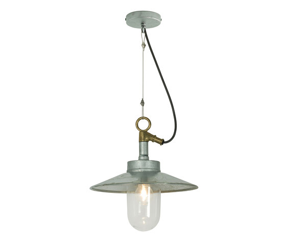 7680 Well Glass Pendant With Visor, Galvanised, Clear Glass di Original BTC | Lampade sospensione