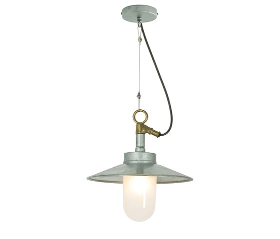 7680 Well Glass Pendant With Visor, Galvanised, Frosted Glass di Original BTC | Lampade sospensione