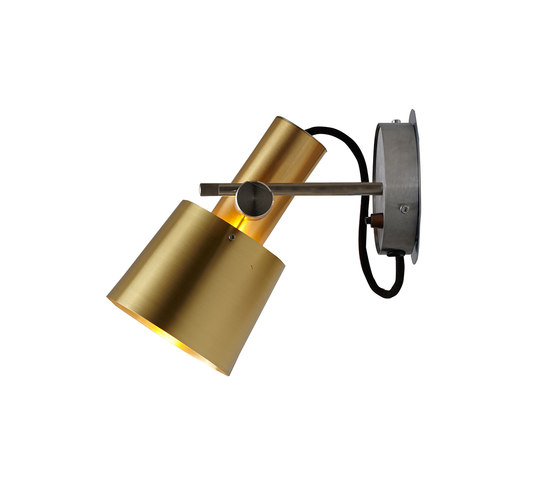Chester Wall Light, Satin Brass, Black Braided Cable by Original BTC | Wall lights